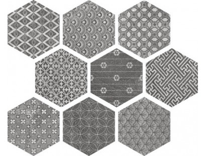 Керамогранит Ape Soft Hexagon Kendo Mix Grey 23x26 см