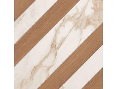 Декор Fap Ceramiche Roma Diamond Righe Calacatta Bark Avana Inserto 60x60 см